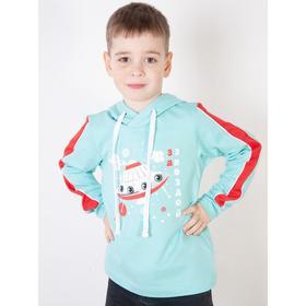 Толстовка для мальчика, цвет светло-ментоловый/красный, рост 104 см