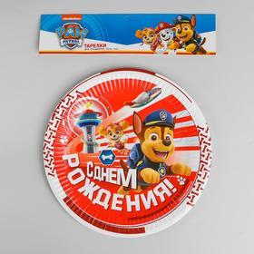 Тарелка бумажная «Щенячий Патруль, С днём рождения!», набор 6 шт., 23 см - фото 7401855