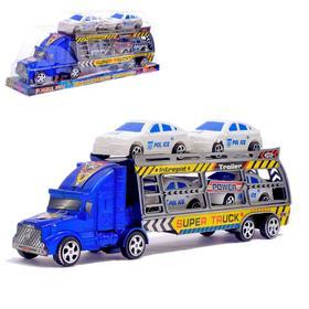 Грузовик инерционный «Автовоз», с машинками, цвета МИКС