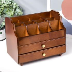 Box tree for jewelry and makeup 2 drawer brown 26х16,5x21,7 cm