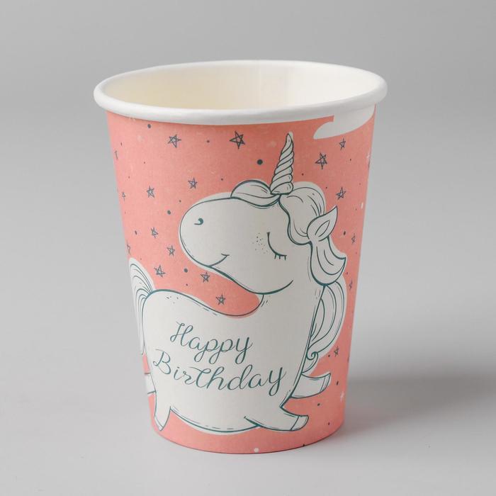 Стакан бумажный «С днём рождения», единорог, набор 6 шт.