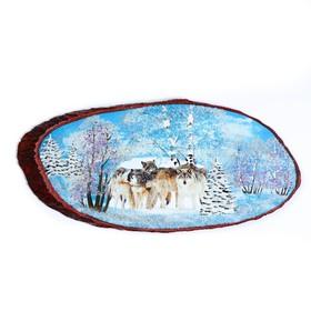 """Панно на спиле """"Волчья стая"""", 60 см, каменная крошка, горизонтальное"""
