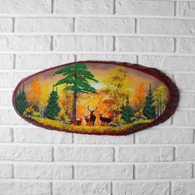 """Панно на спиле """"Олени. Осень."""", 60 см, каменная крошка, горизонтальное, микс"""