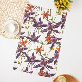 Полотенце рогожка Цветы 2 35х60 см, хлопок 100%, 155г/м2