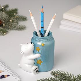 Подставка для карандашей «Мишка с баночкой»