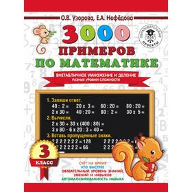 3000 examples in math. Off-table multiplication and division. Different levels of difficulty. Grade 3 Pattern