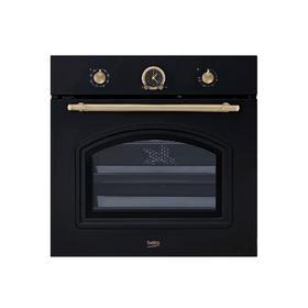 Духовой шкаф Beko OIM 27201 A, электрический, 71 л, 8 программ, гриль, ретро, чёрная