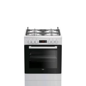 Плита комбинированная Beko FSE 62330 GWD, 4 конфорки, 65 л, эмаль, чёрно-белая