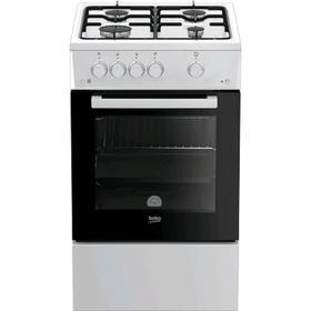 Плита Beko FSG 52010 W, газовая, 4 конфорки, 60 л, эмаль, чёрно-белая