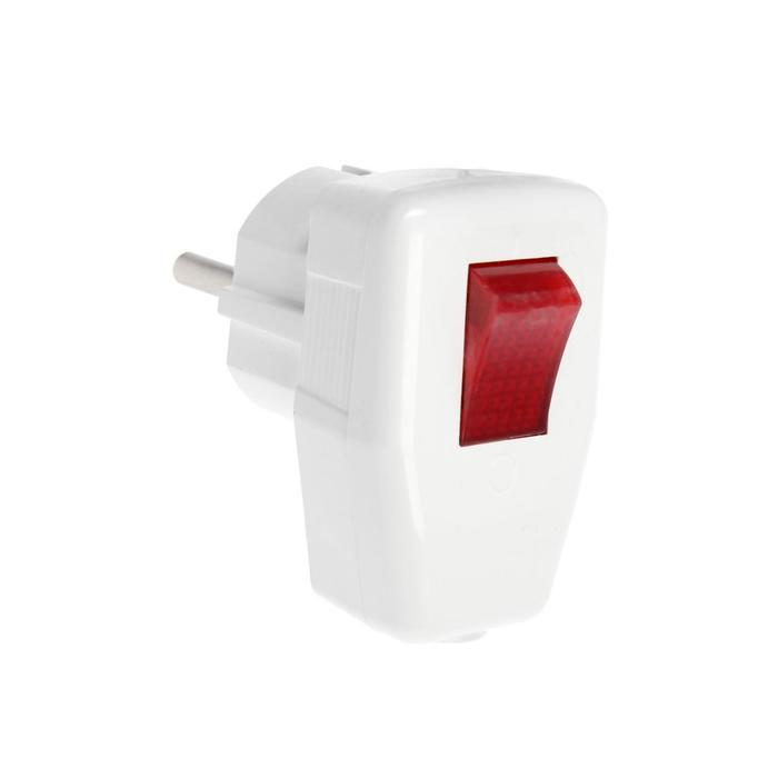 Вилка угловая, 16А, с з/к, с выключателем, белая, розничная упаковка.