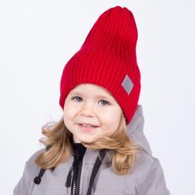 Шапка для девочки, цвет красный, размер 52-56