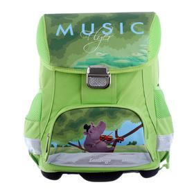 Ранец на замке LeonВergo Mini Cap №5 39*27*17 + мешок д/обуви Gippo 2, зелёный