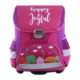 Ранец на замке LeonВergo Mini Cap №5 39*27*17 дев + мешок д/обуви Happy 2, розовый