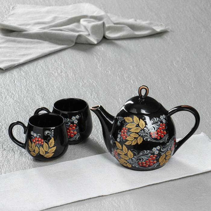 """Чайный набор """"Петелька"""", 3 предмета, чёрный, рябина, 0.8/0.22 л - фото 243586"""