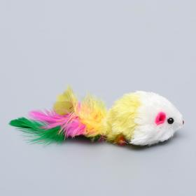 """Игрушка для кошек """"Малая мышь"""" с перьями, микс цветов - быстрая доставка"""