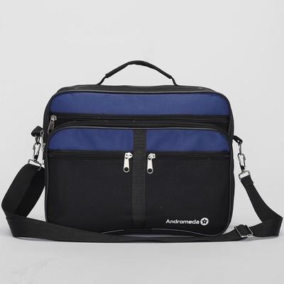 Сумка мужская на молнии, 2 отдела, 4 наружных кармана, длинный ремень, чёрный/синий