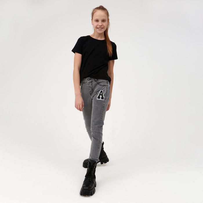 Джинсы для девочки, цвет серый, рост 134 см - фото 105571143