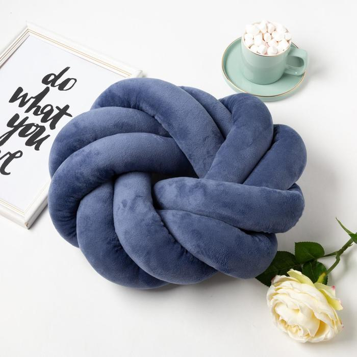 Подушка-узел «Этель», d=33см, цвет синий, велюр - фото 990595