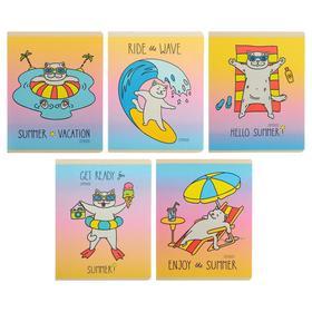 """Тетрадь 48 листов в клетку """"Каникулы кота"""", обложка мелованный картон, твин-лак, конгрев, блок офсет"""