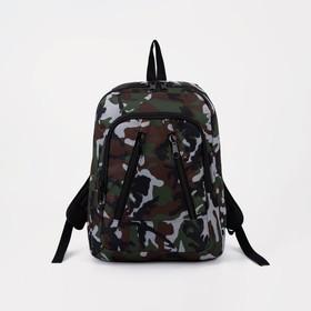 Рюкзак школьный, отдел на молнии, наружный карман, цвет камуфляж