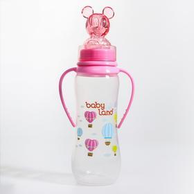 Бутылочка с ручками, колпачком-игрушкой 240 мл., от 6 мес., ортодонтическая, цвет розовый