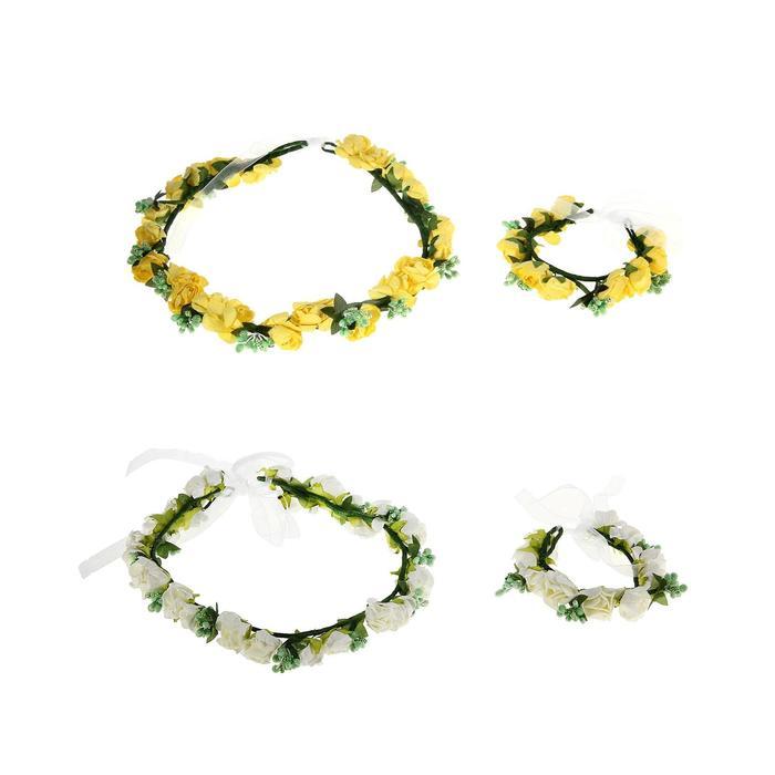Гавайский набор 2 предмета: венок, браслет, МИКС