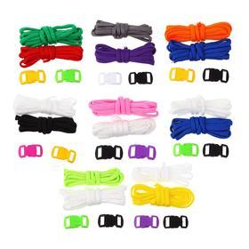 Набор плетения из тесьмы + 4 крепления, длина 1 шт 1,2 метра, цвета однотонный МИКС Ош