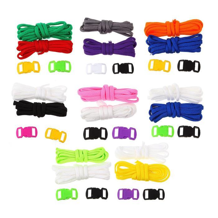 Набор плетения из тесьмы + 4 крепления, длина 1 шт. — 1,2 метра, цвета однотонный МИКС - фото 696068