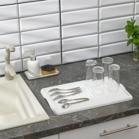 Поднос с вкладышем для сушки посуды, 42,5×27 см, цвет белый