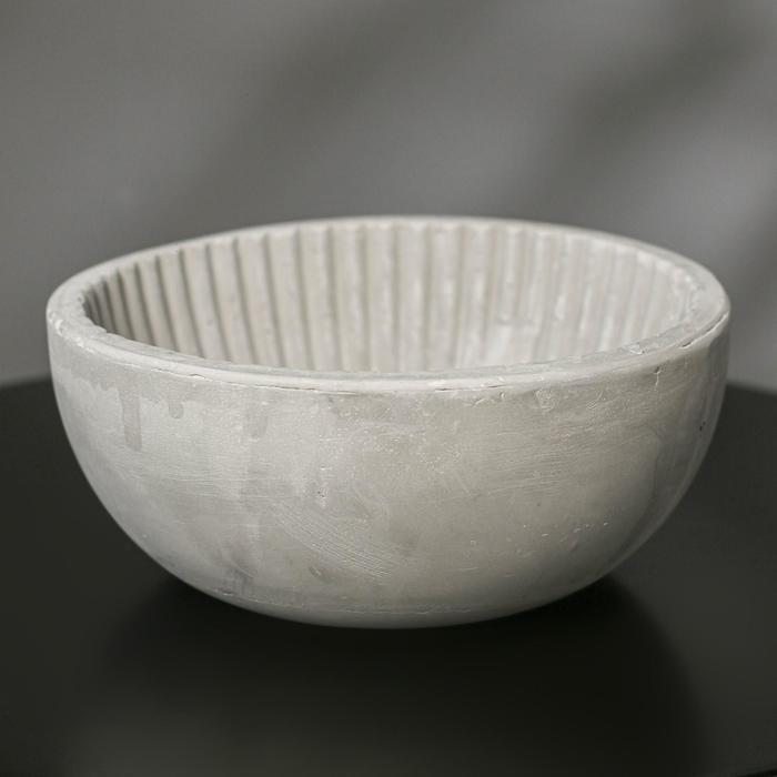Кашпо круглое из гипса «Эстетика», цвет серый, 20 × 8.5 см