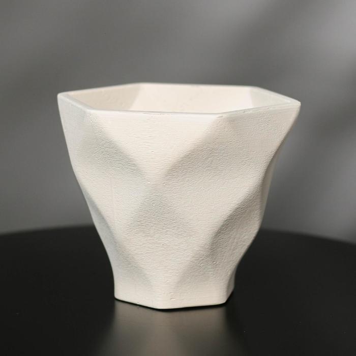 Кашпо-ромб «Фантазия», белое, 15 х 14 см