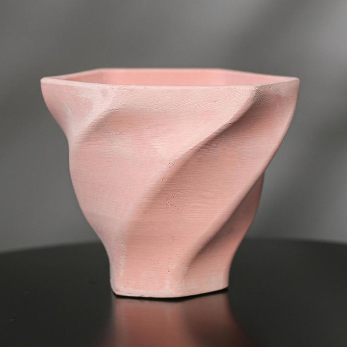Кашпо винтовое из гипса «Феерия», цвет розовый, 15 × 14 см