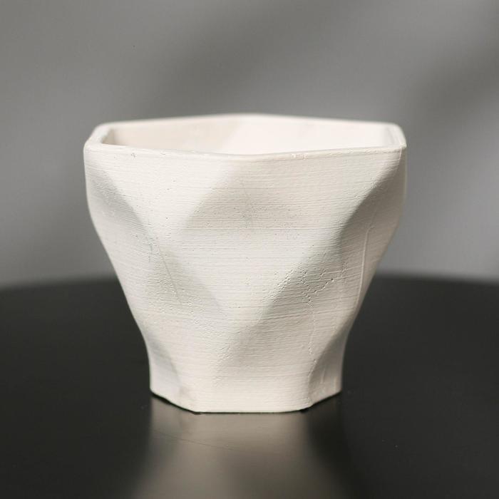 Кашпо-ромб «Фантазия», цвет белый, 10.5 × 9 см