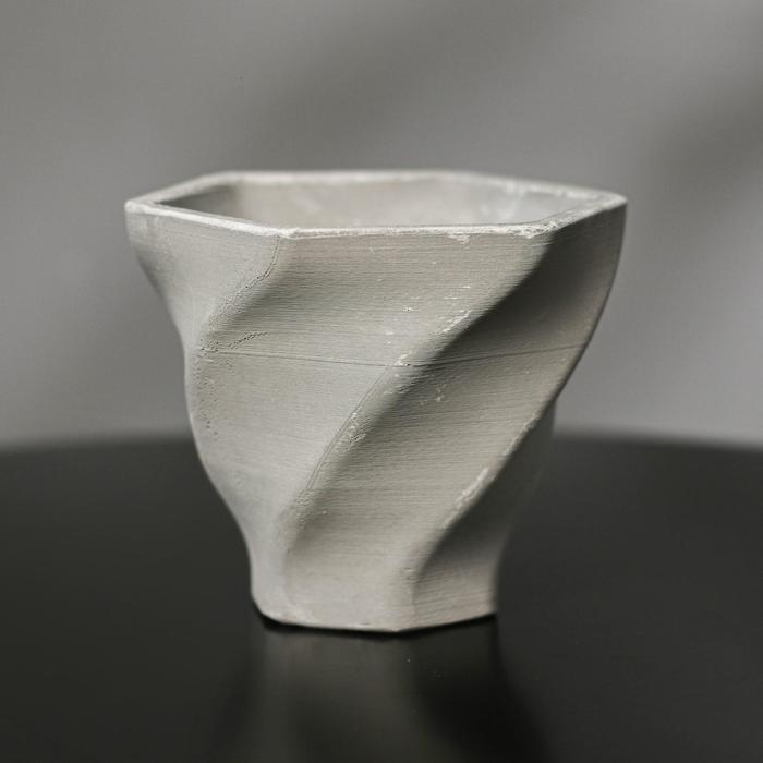 Кашпо винтовое из гипса «Феерия», цвет серый, 10.5 × 9 см