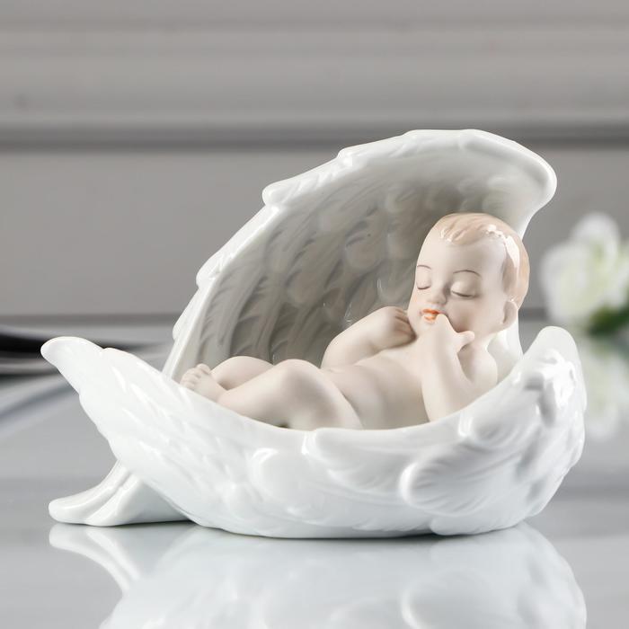 """Сувенир керамика """"Спящий младенец в ангельских крыльях"""" 8,5х12х7,5 см - фото 493818"""