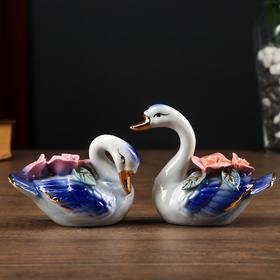 """Сувенир керамика """"Синие лебеди с букетом роз"""" набор 2 шт 8,5х5х9 см"""