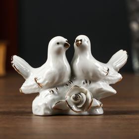 "Сувенир керамика ""Белые голубки с розой"" страза 6,4х4х9,5 см"