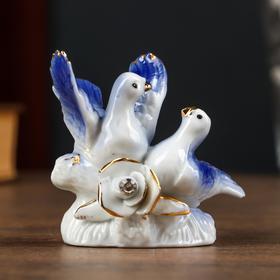"Сувенир керамика ""2 голубка с розой"" МИКС 6,1х4,5х7,5 см"