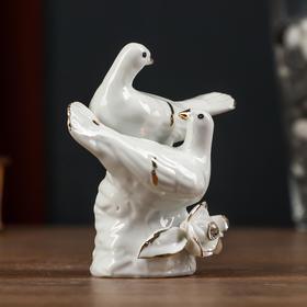 """Сувенир керамика """"Белые голубки с розами"""" страза 8,5х5х8 см"""