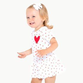 Боди-платье для девочки, цвет белый/сердечки, рост 74 см