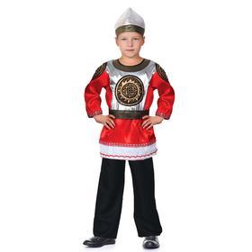 Карнавальный костюм «Богатырь Святогор», шлем, рубаха красная, пояс, штаны, р. 28, рост 98-104 см