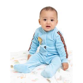 Комбинезон для мальчика, цвет голубой/звери, рост 56 см