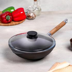 Сковорода-Wok чугунная, d=24 см, деревянная ручка, стеклянная крышка