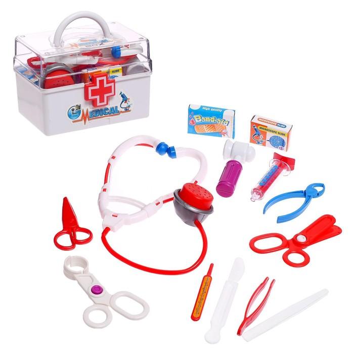 Набор доктора «Маленький врач» в чемодане, 13 предметов, цвета МИКС - фото 106529493