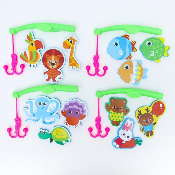 Набор игрушек для ванны + удочка «Веселая рыбалка», МИКС - фото 76413859
