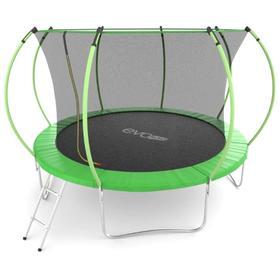 Батут с внутренней сеткой и лестницей  EVO JUMP Internal 12ft диаметр (366 см) зеленый