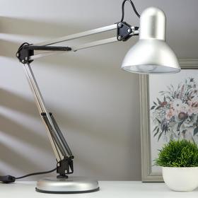 Лампа настольная на подставке 1х60Вт Е27 шнур 1.5м  серебро