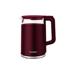 Чайник электрический Oursson EK1732W/DC, 2200 Вт, 1.7 л, стекло/пластик, бордовый