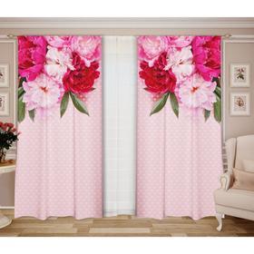 Комплект штор Манящие пионы шторы (147х267-2 шт), тюль (290 x 267), роз, габардин, пэ 100%