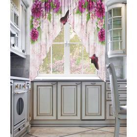 Тюль для кухни Фиолет 250 х 170см-2 шт, шифон, пэ 100%